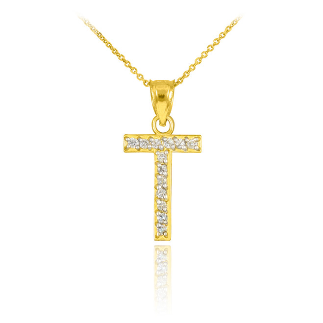 "Gold Letter ""T"" Diamond Initial Pendant Necklace"
