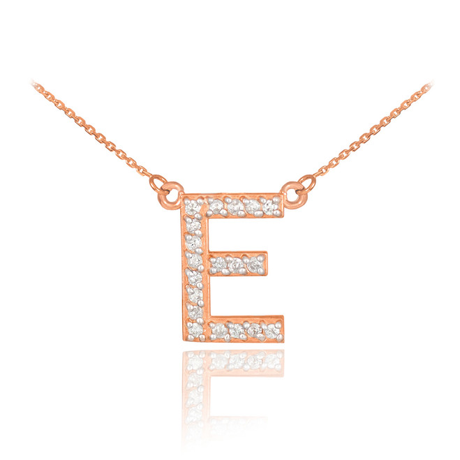 "14k Rose Gold Letter ""E"" Diamond Initial Necklace"
