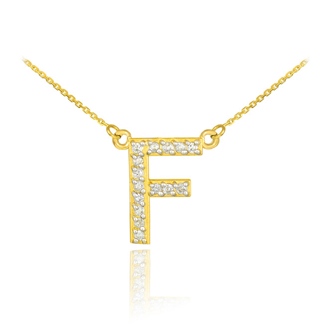 "14k Gold Letter ""F"" Diamond Initial Necklace"