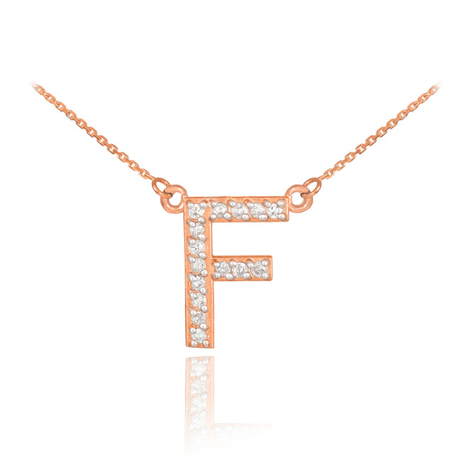 "14k Rose Gold Letter ""F"" Diamond Initial Necklace"