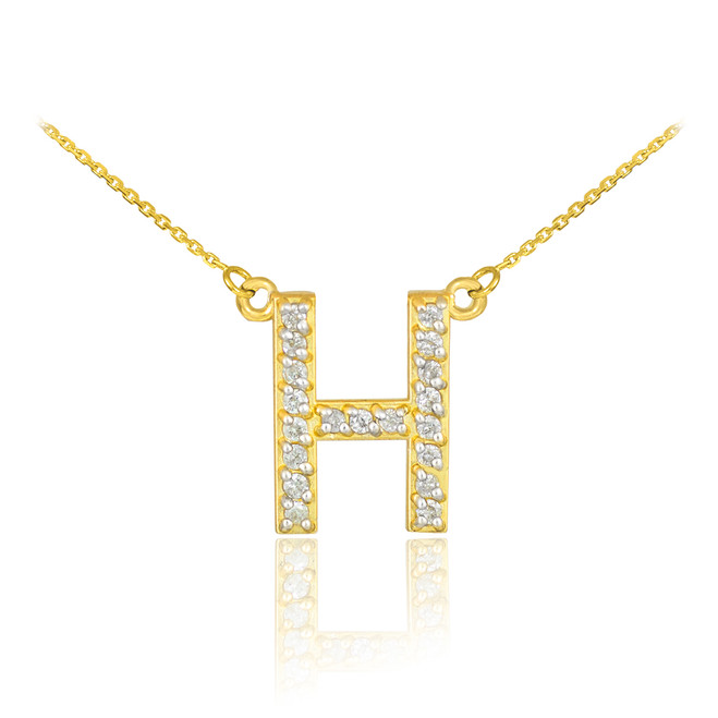 "14k Gold Letter ""H"" Diamond Initial Necklace"