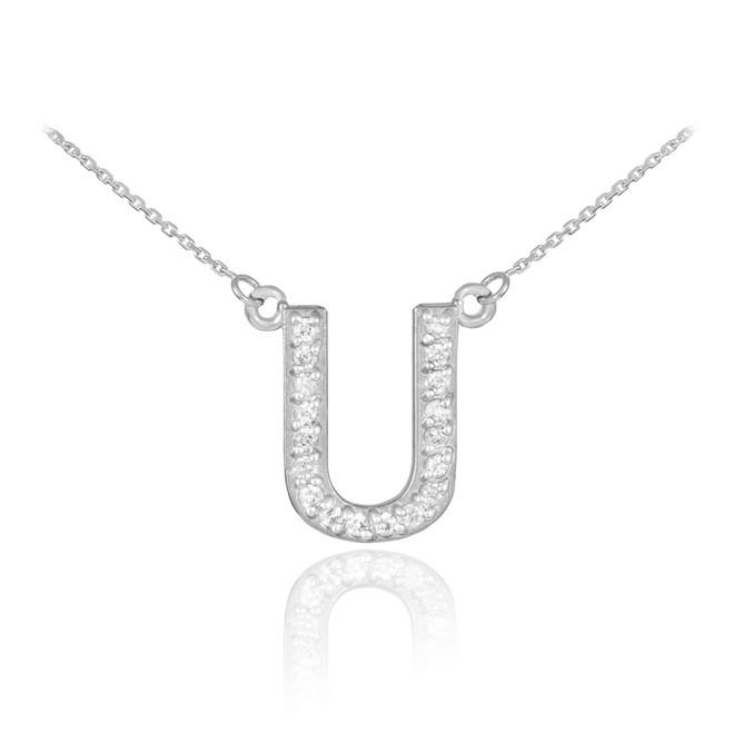 "14k White Gold Letter ""U"" Diamond Initial Necklace"