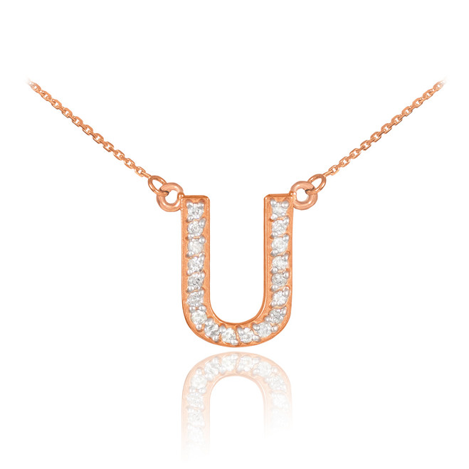 "14k Rose Gold Letter ""U"" Diamond Initial Necklace"