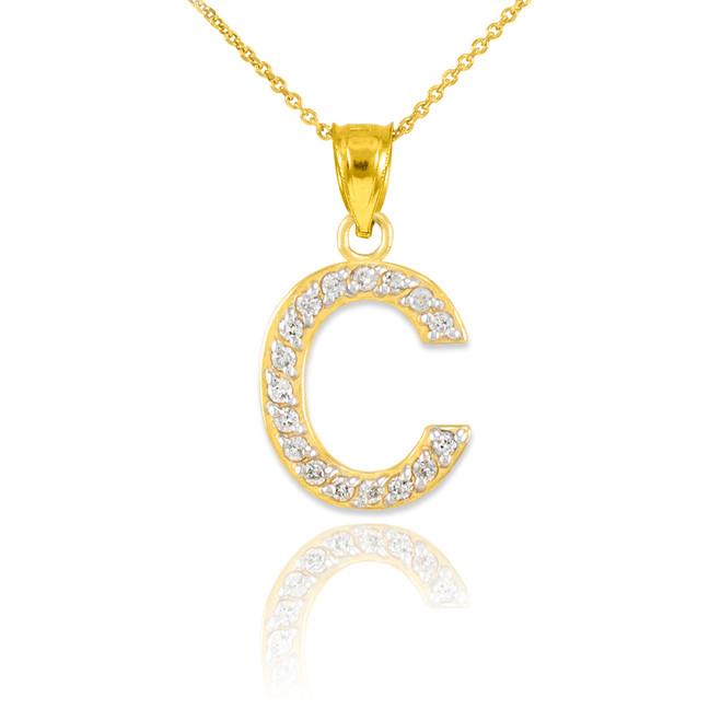 "Gold Letter ""C"" Diamond Initial Pendant Necklace"