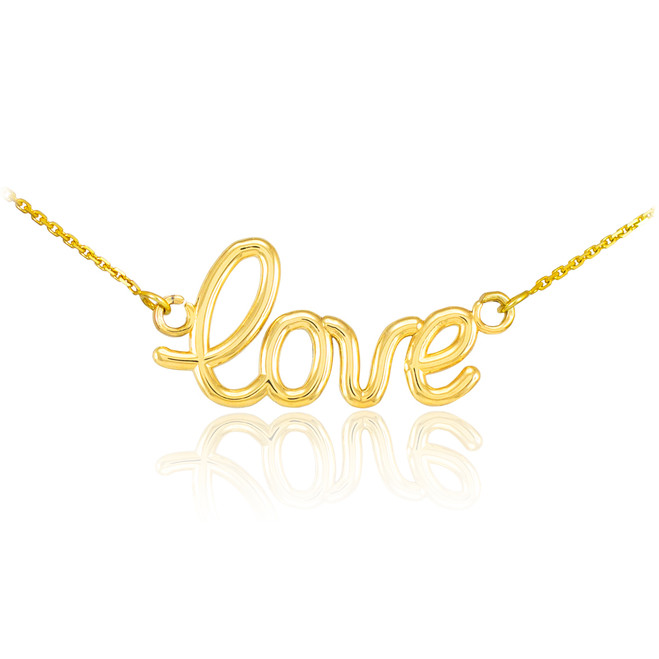 "14K Gold ""Love"" Script Necklace"