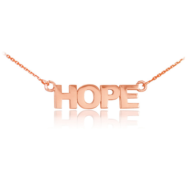 """14k Solid Rose Gold """"HOPE"""" Script Necklace"""