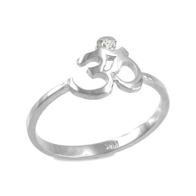 Sterling Silver Om (Ohm) CZ Ring