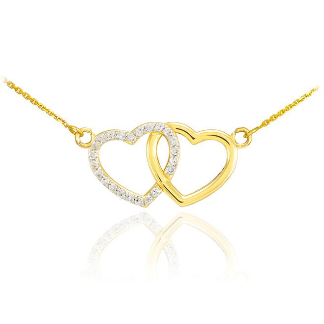 14K Gold Double Heart Diamond Necklace
