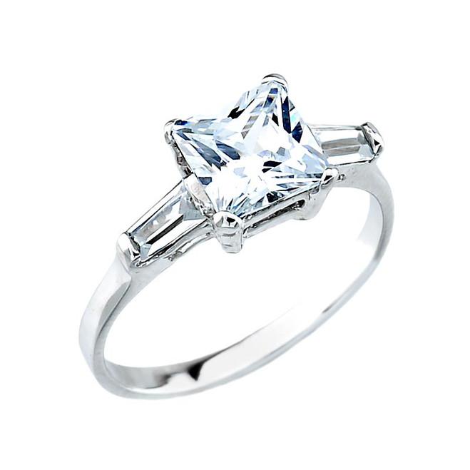 White Gold Cubic Zirconia Engagement Wedding Ring