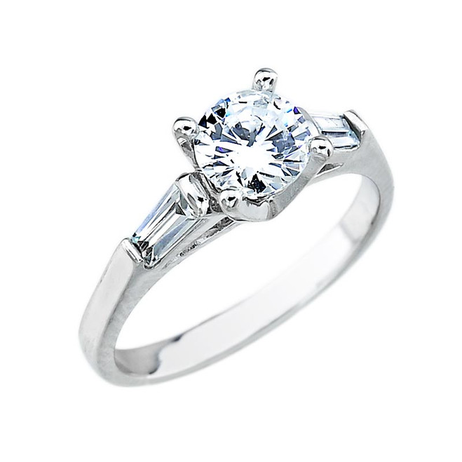 White Gold 3 Stone CZ Engagement Ring