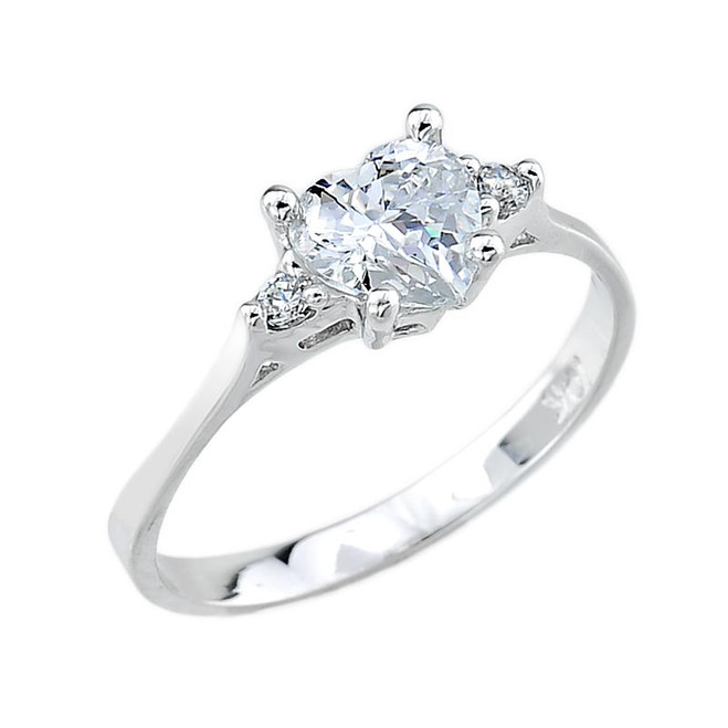 White Gold C Z Engagement Ring