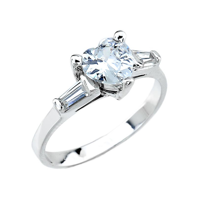 White Gold 3 Stone C.Z. Engagement Ring