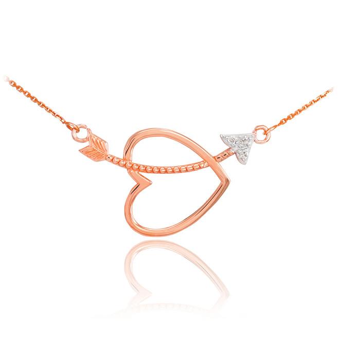 14K Rose Gold Heart & Arrow Diamond Necklace
