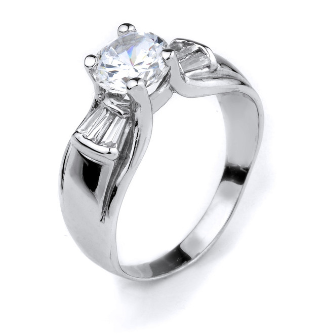 10k Gold Round CZ Solitaire Engagement Ladies Ring