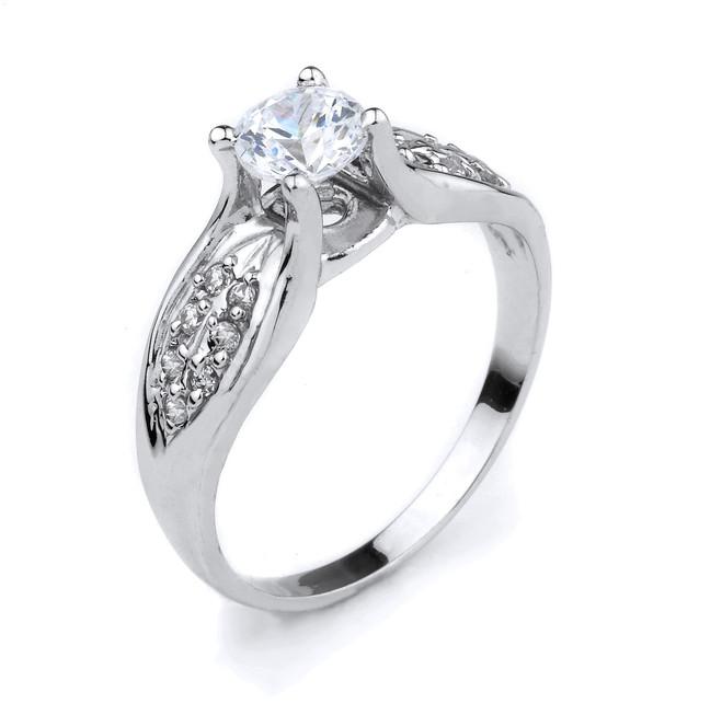 10K White Gold Round C.Z. Engagement Ring