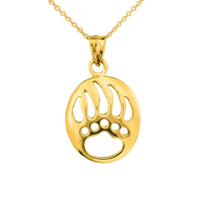 Yellow Gold  Gold Bear Paw Print Pendant Necklace