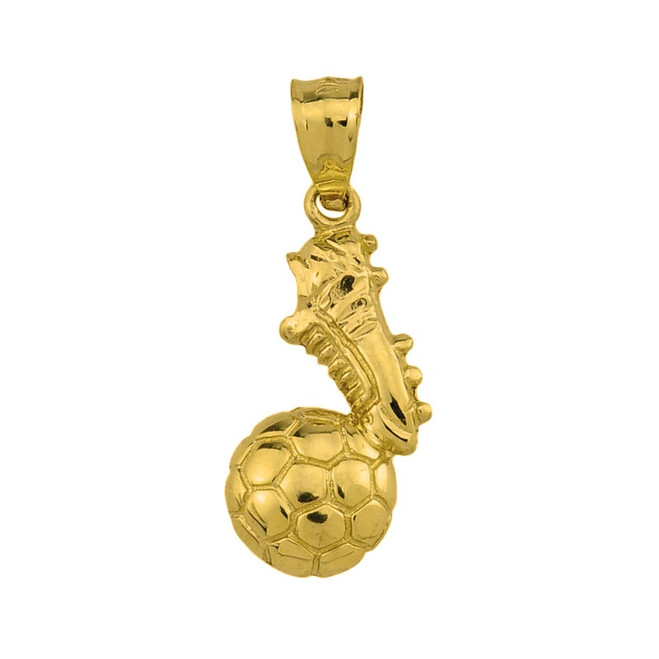 Yellow Gold Soccer Ball With Shoe Pendant Necklace