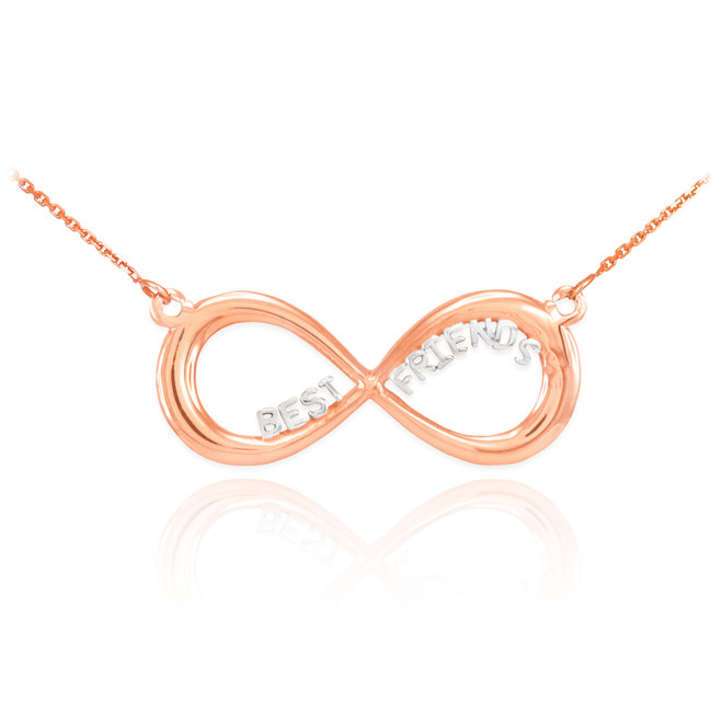 "14K Two-Tone Rose Gold ""BEST FRIENDS"" Infinity Necklace"