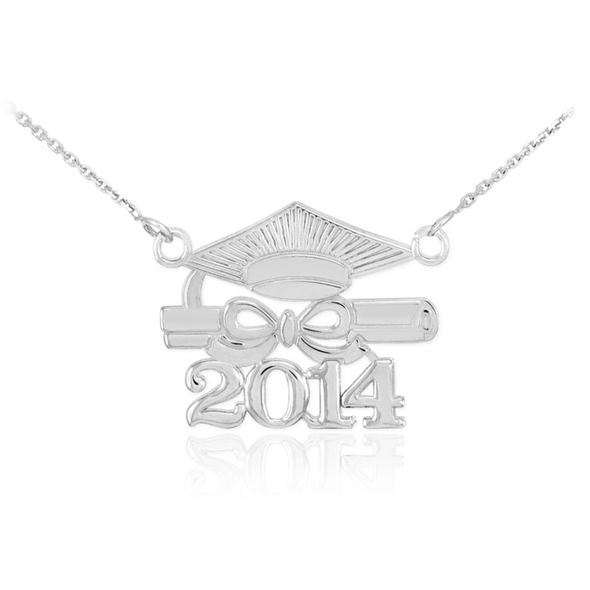 "14K White Gold ""CLASS OF 2014"" Graduation Pendant Necklace"