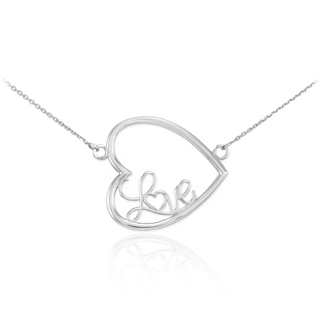 "14K White Gold Sideways Open Heart ""Love"" Script Necklace"