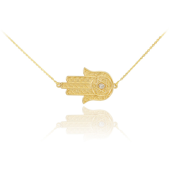 14K Gold Sideways Hamsa Diamond Necklace