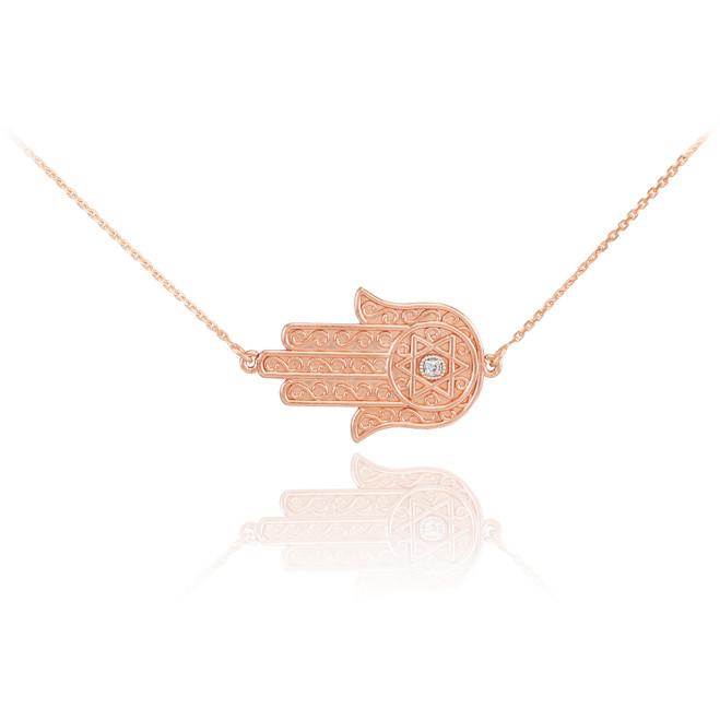 14K Rose Gold Sideways Hamsa Diamond Necklace