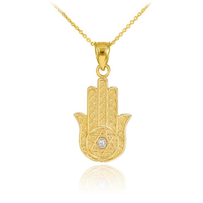 Gold Hamsa Diamond Pendant Necklace