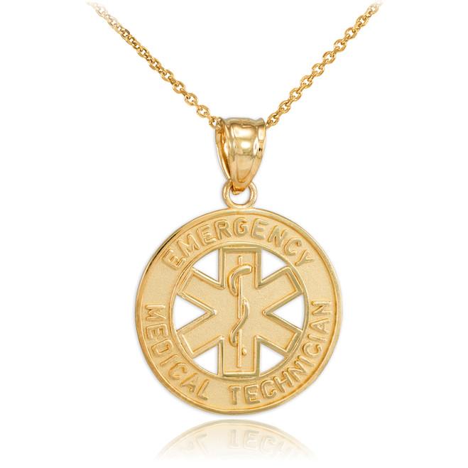 Gold EMT Medical Charm Pendant Necklace