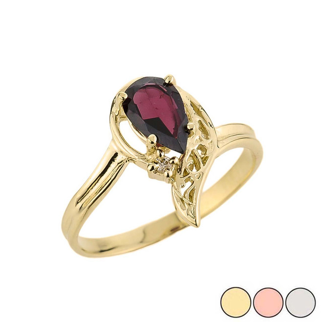Ladies Pear Shaped Garnet Gemstone Ring in 10k Gold (Yellow/Rose/White)