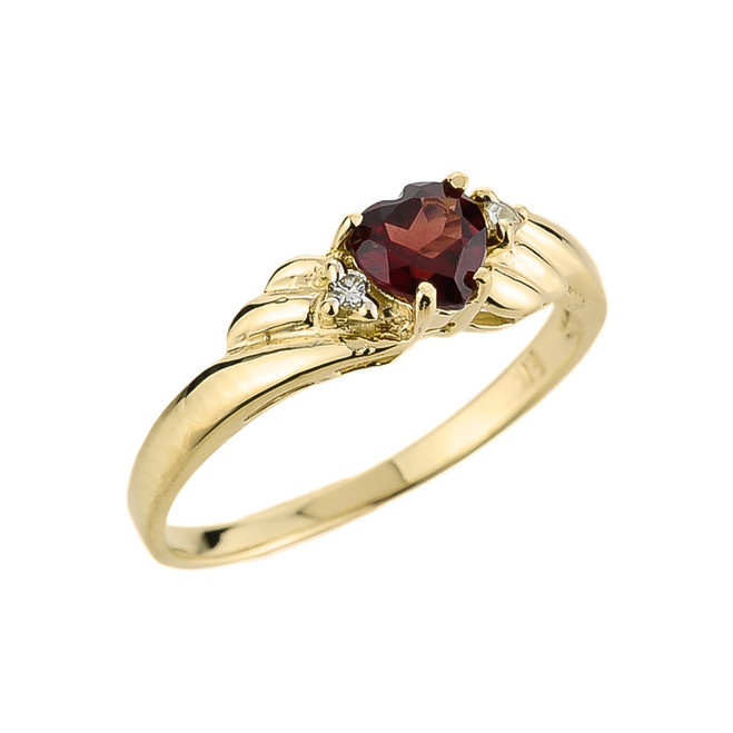Yellow Gold Ladies Garnet and Diamond Gemstone Ring