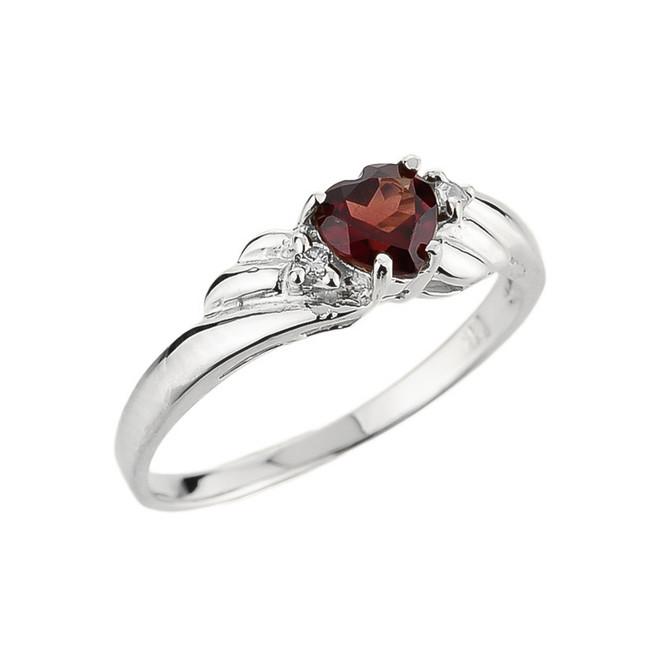 White Gold Ladies Garnet and Diamond Gemstone Ring