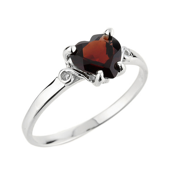 Ladies Heart Shaped Garnet Ring in White Gold