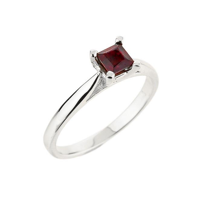 10k White Gold Ladies Princess Cut Garnet Ring