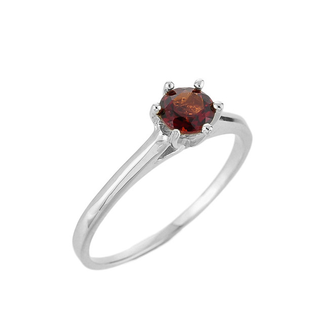 White Gold Ladies Garnet Gemstone Solitaire Ring
