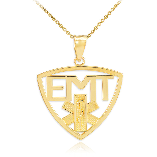 Polished Gold EMT Emergency Medical Technician Pendant Necklace