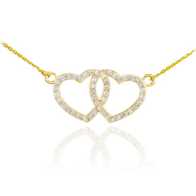14K Gold CZ Studded Double Heart Necklace