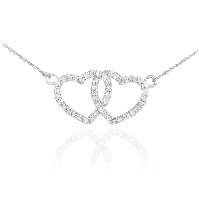 14K White Gold CZ Studded Double Heart Necklace