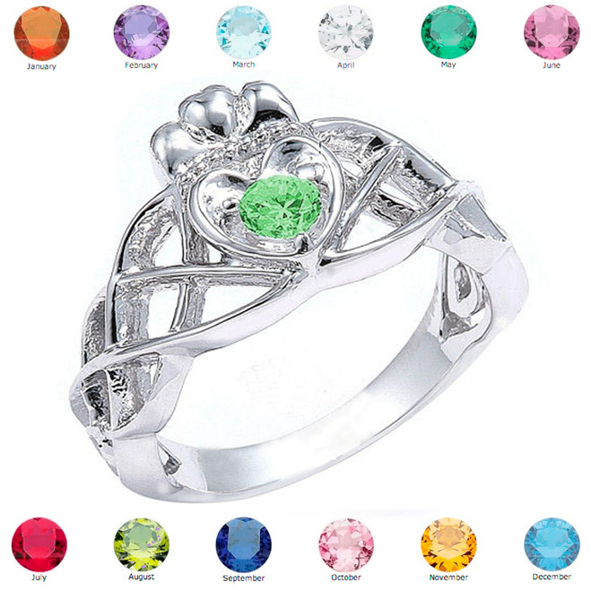 Sterling Silver Trinity Celtic Knot Personalized CZ Birthstone Ladies Ring
