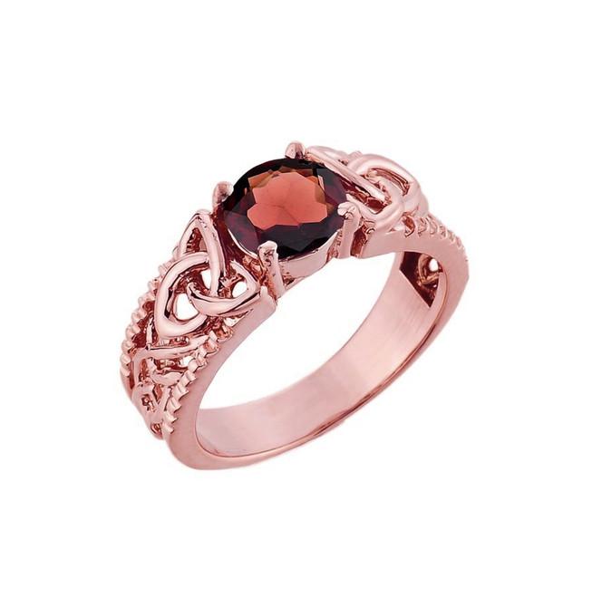 Rose Gold Celtic Knot Garnet Gemstone Ring