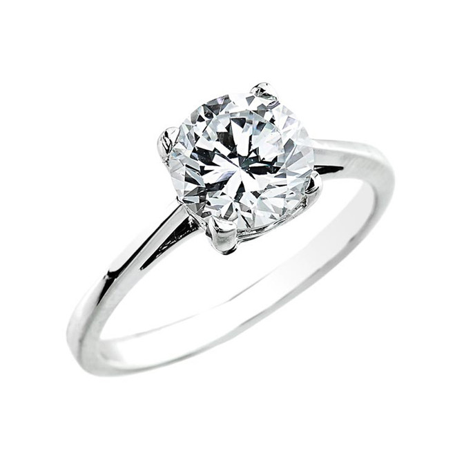 White Gold 2.50 ct Cubic Zirconia Dainty Solitaire Engagement Ring