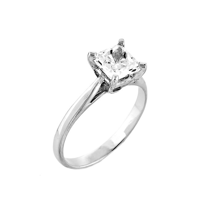 14K White Gold Princess Cut CZ Solitaire Engagement Ring
