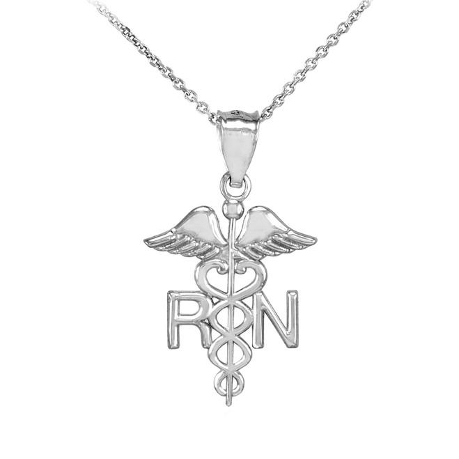 White Gold Registered Nurse RN Medical Pendant Necklace