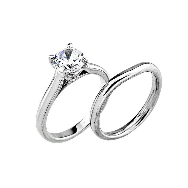 14k White Gold  Engagement Wedding Set