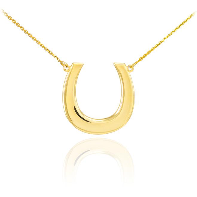 14K Polished Gold Lucky Horseshoe Necklace