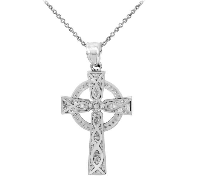 White Gold Celtic Cross Charm Pendant Necklace