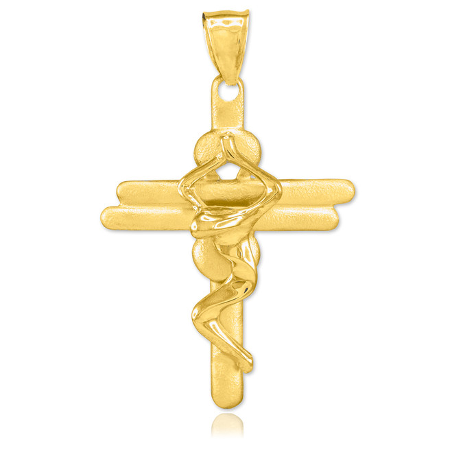 Gold Contemporary Crucifix Cross Pendant