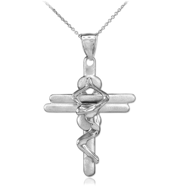 Sterling Silver Contemporary Crucifix Cross Pendant Necklace