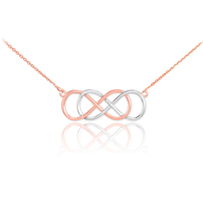 14K Two-Tone Rose Gold Double Knot Infinity Necklace