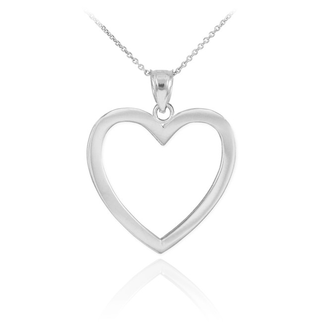 Polished White Gold Open Heart Pendant Necklace