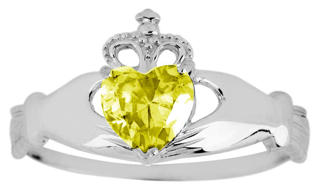 Silver Claddagh Ring with Yellow Topaz birthstone.